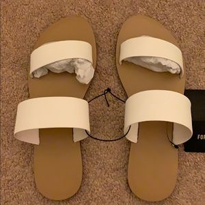 F21 White Double Band Sandals